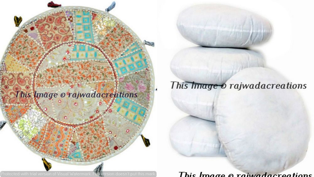 Big Round Floor Pillow Cushion Round Bohemian Patchwork Inner Insert