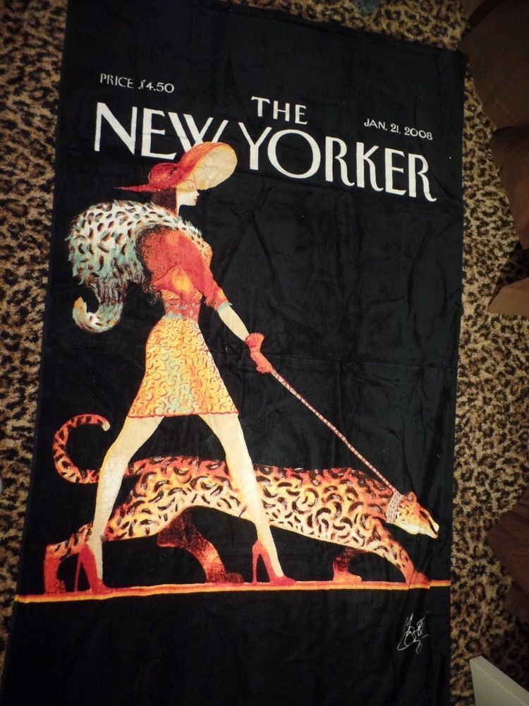Conde Nast New Yorker Leopard Lady Beach Towel Classic Vintage