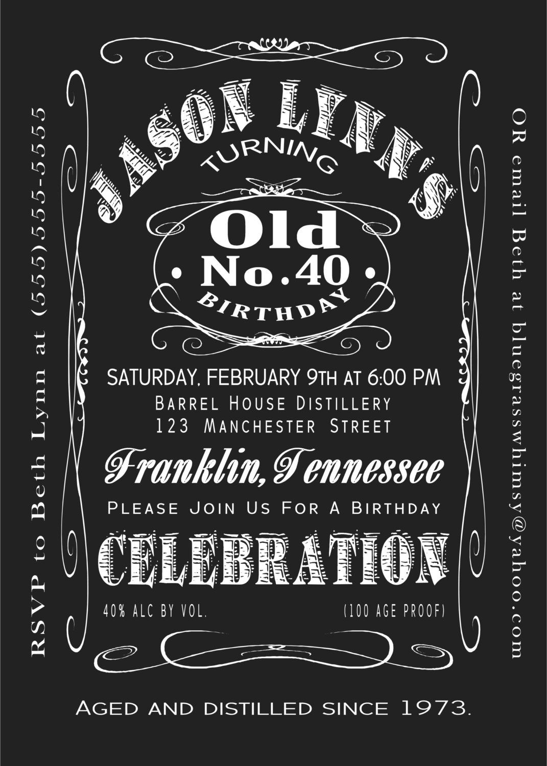 5th Birthday Jack Daniels Whiskey Label 5x5 Printable Invitation