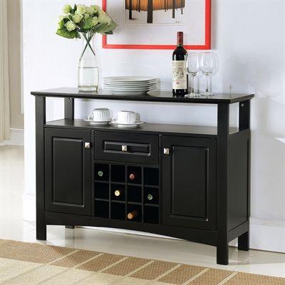 Kb Furniture Sideboards Server Wr1347 Black Buffet With Wine Rack