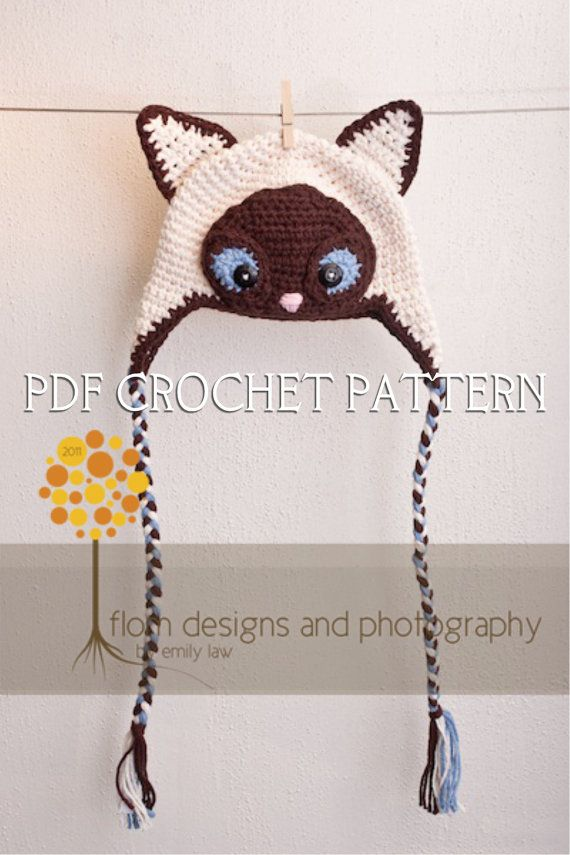 Siamese cat | Crochet | Pinterest | Gorros, Tejido y Gorros crochet