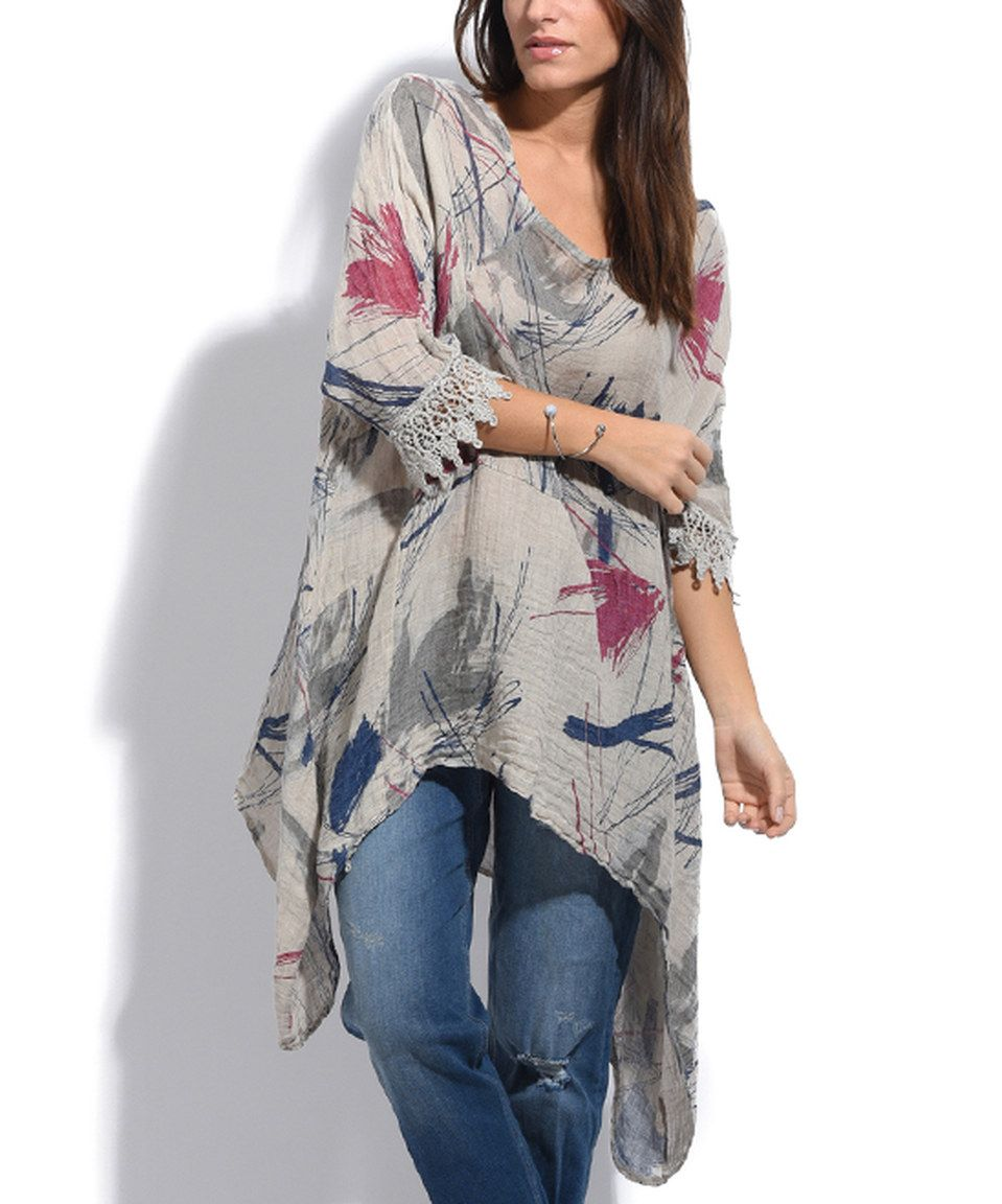 Take A Look At This Couleur Lin Beige Anna Linen Sidetail Tunic   Plus Too  Today!