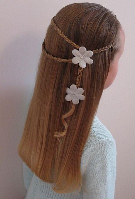Çocuk Saç Modelleri Örgü Papatya Çiçek Süslü