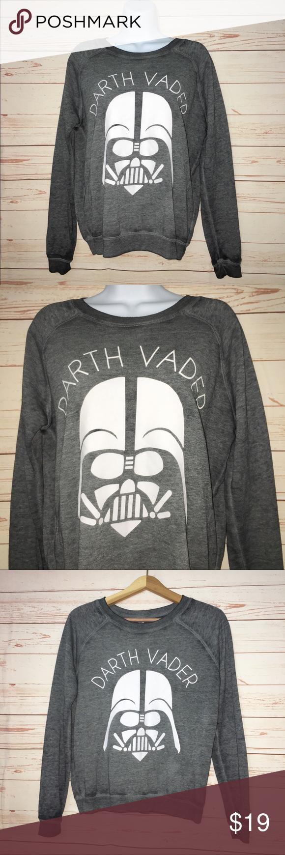 Star Wars Darth Vader Distressed Gray Sweatshirt S Sweatshirts Grey Sweatshirt Clothes Design [ 1740 x 580 Pixel ]