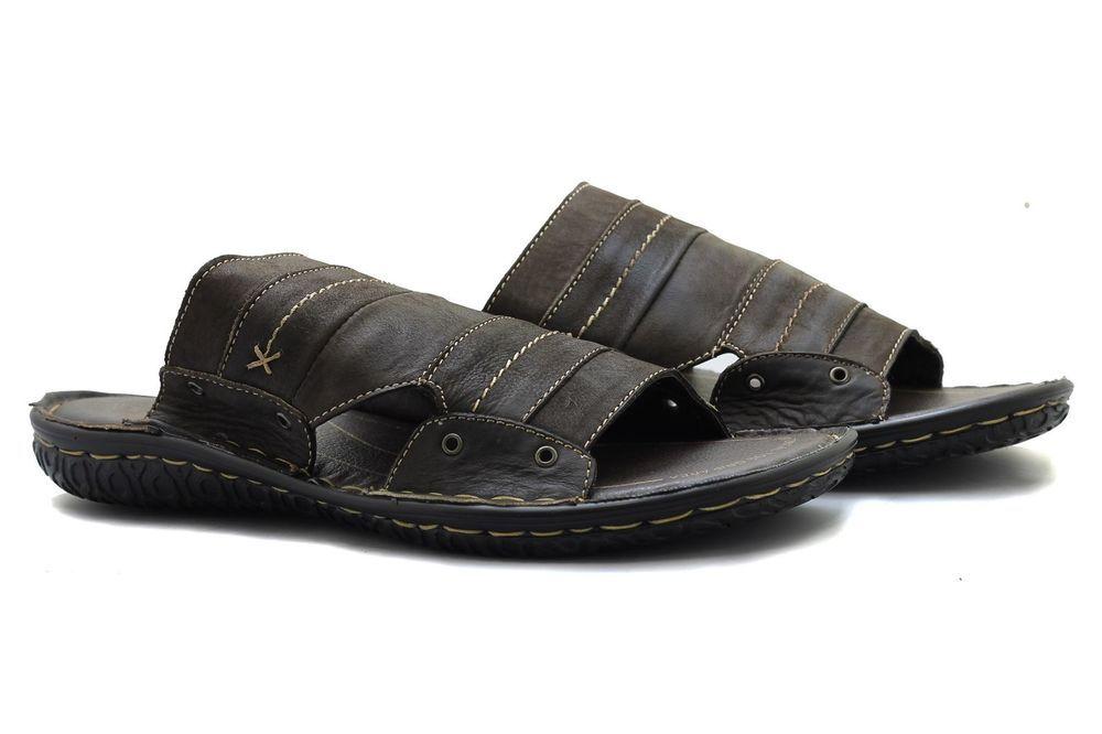 005ef5168e0 Mens Real Leather Dark Brown Slip ons Beach Sandals Slippers Open Toe UK 6  - 11