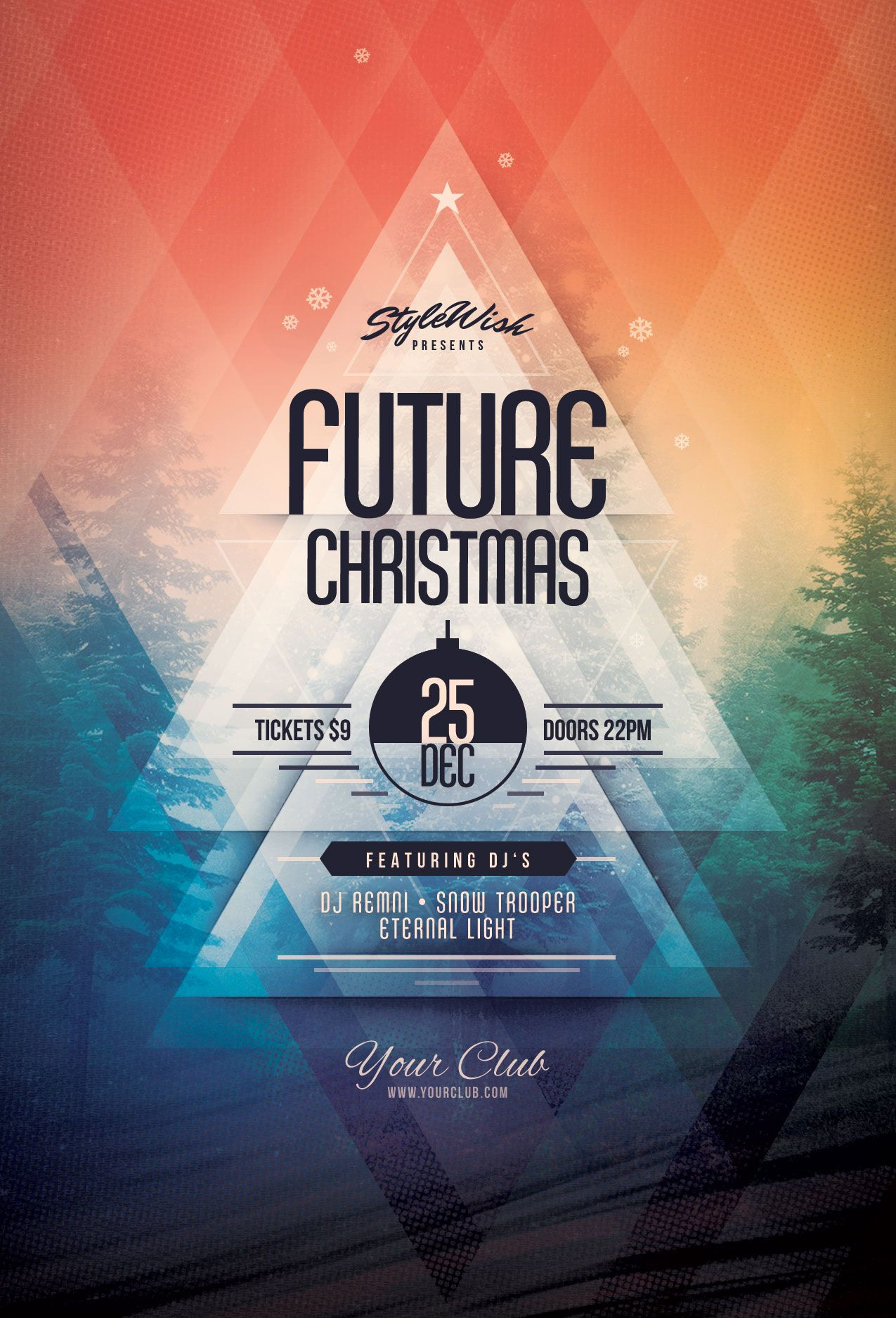 Future Christmas Flyer Template. Buy PSD file - $9 | Party poster ...