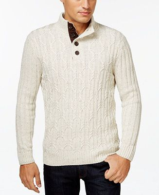 Tasso Elba Big and Tall Chunky Partial-Button Sweater, Only at Macy's - Sweaters - Men - Macy's