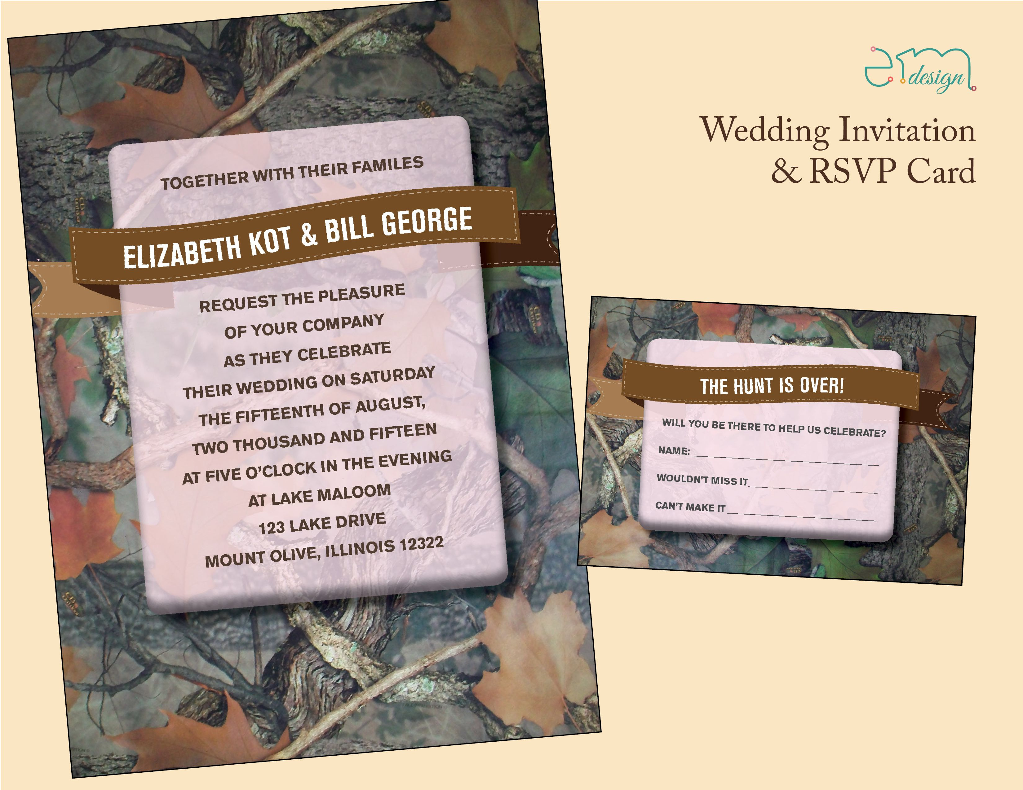 Green camo wedding invitation and response card. Green mossy oak ...