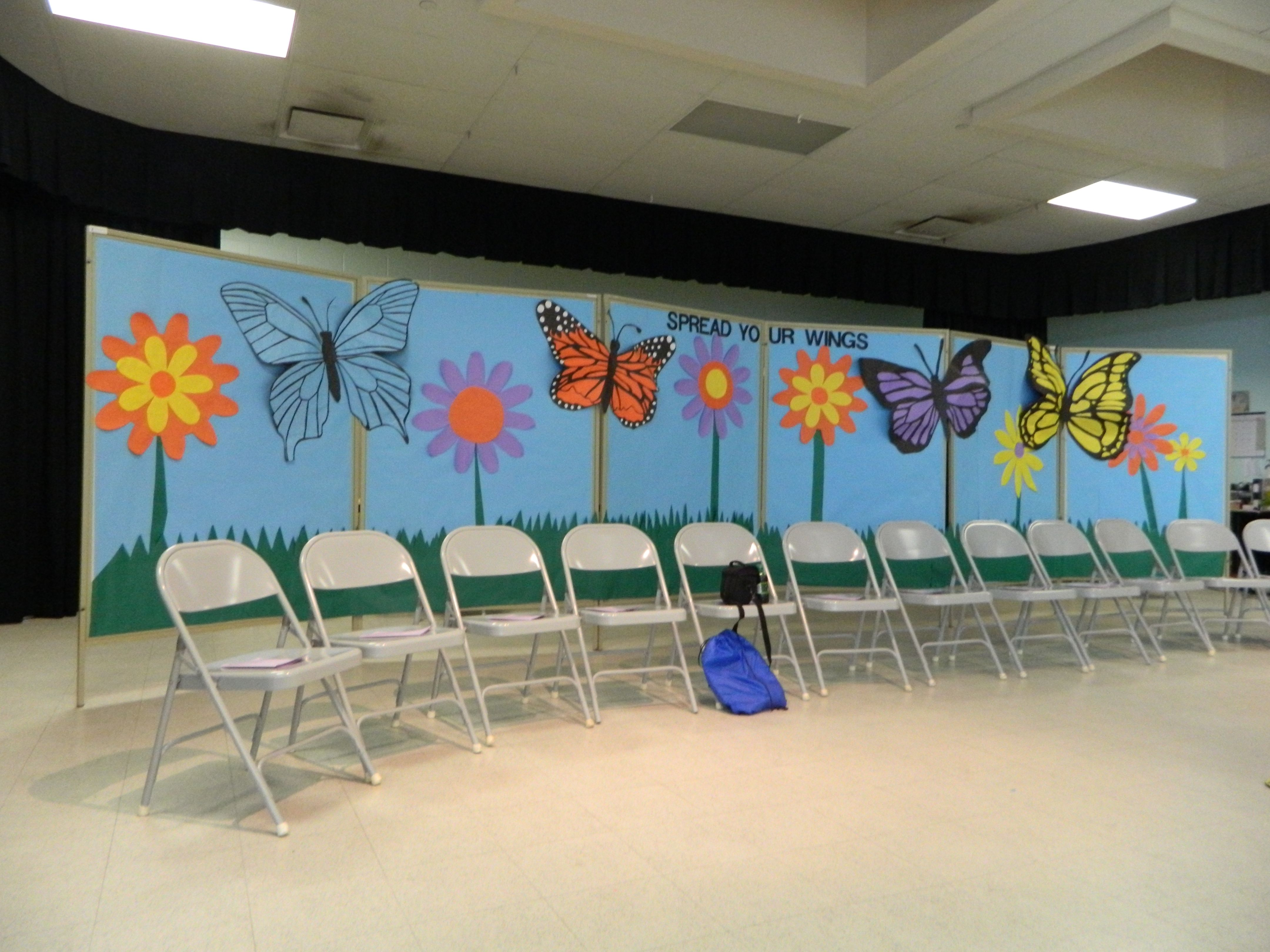 I made this backdrop for the 5th grade graduation at our school quotspread your wings and fly for 5th grade graduation ideas