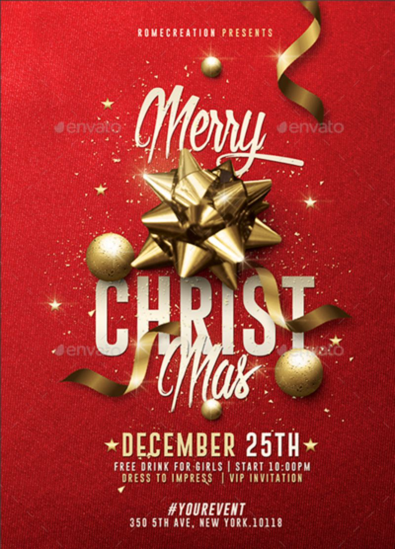 Exceptionnel Classy Christmas Invitation | Psd Template by RomeCreation on  YC97