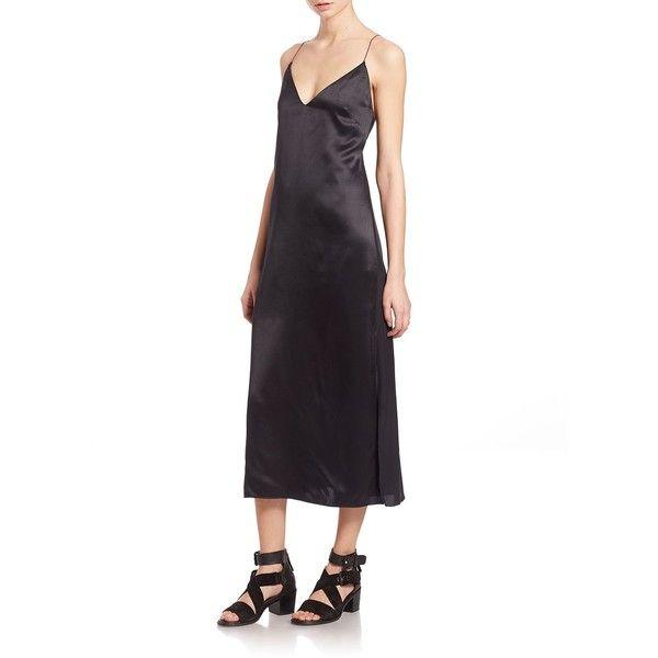 cd59f94850c5 Rag & Bone Nina Silk Slip Dress ($285) ❤ liked on Polyvore featuring dresses,  apparel & accessories, black, rag bone dress, silk dress, spaghetti strap  ...