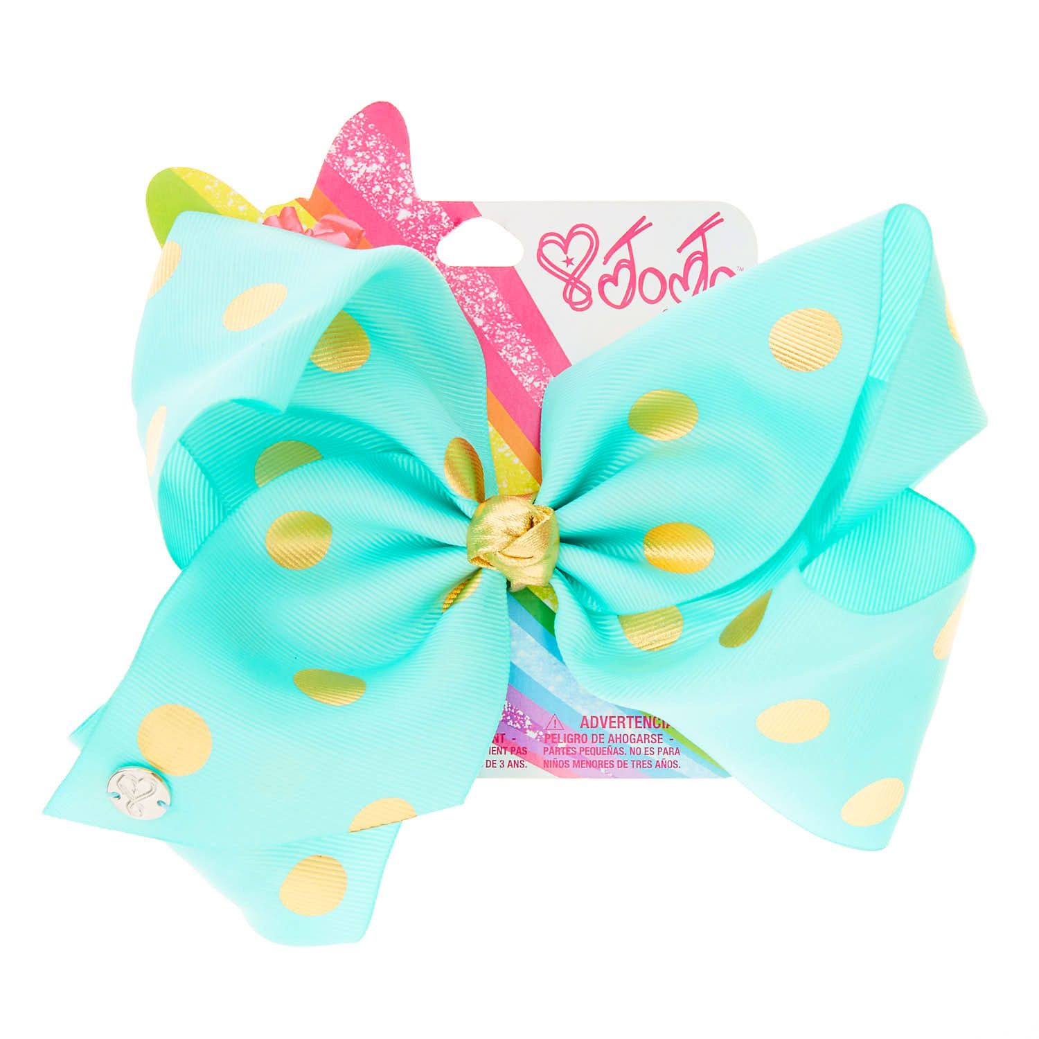 JoJo Siwa Large Mint & Gold Polka Dot Hair Bow Claire's