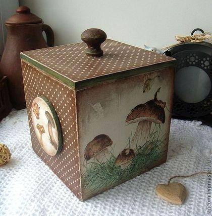 """Короб """"Грибная пора"""" - коричневый,короб для хранения,короб для кухни,грибы"""