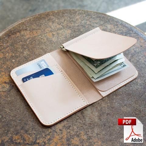 Vertical Money Clip Bi Fold Wallet Pdf Template Set A4