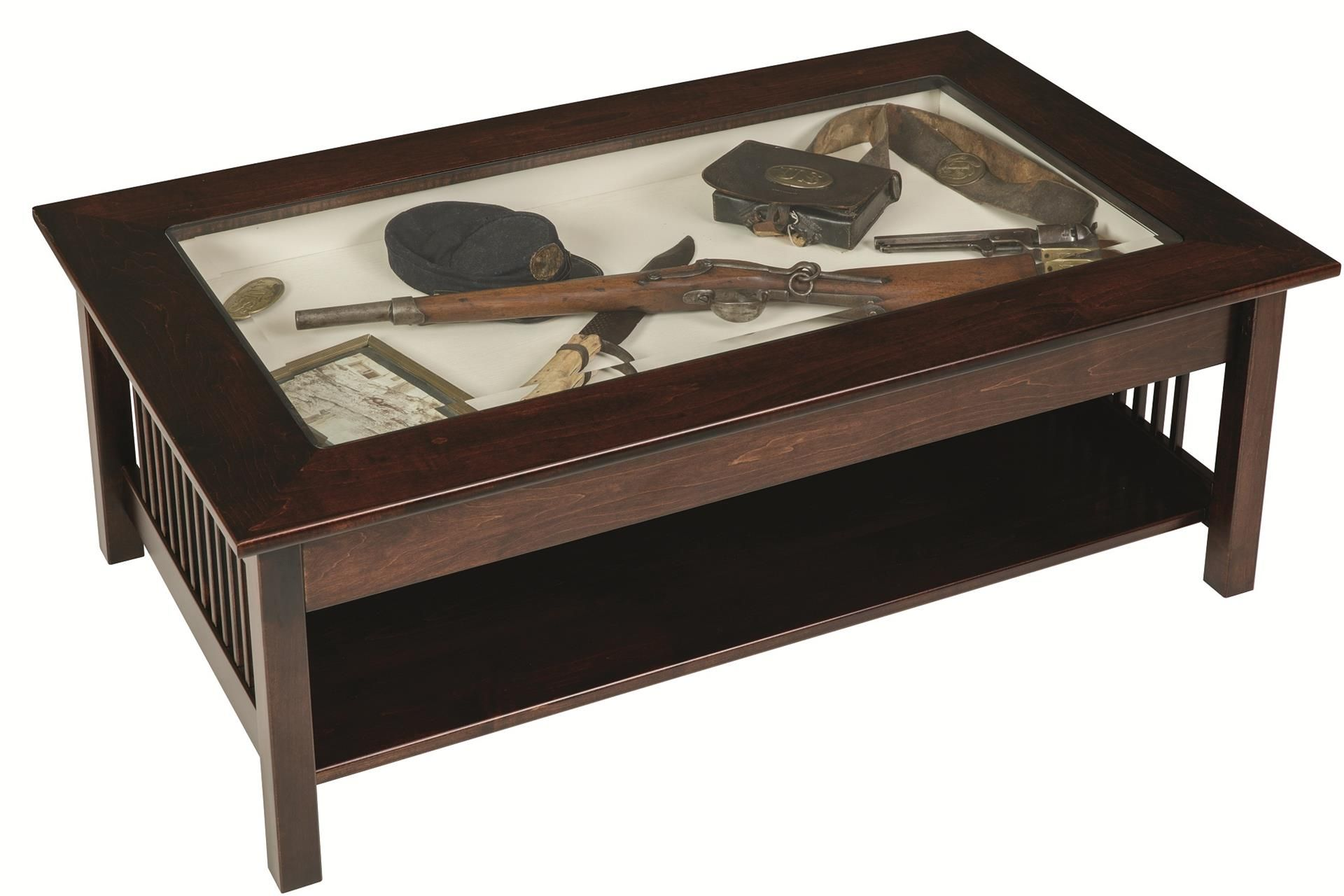 Amish Mission Large Coffee Table With Glass Top Display Display Coffee Table Shadow Box Coffee Table Coffee Table
