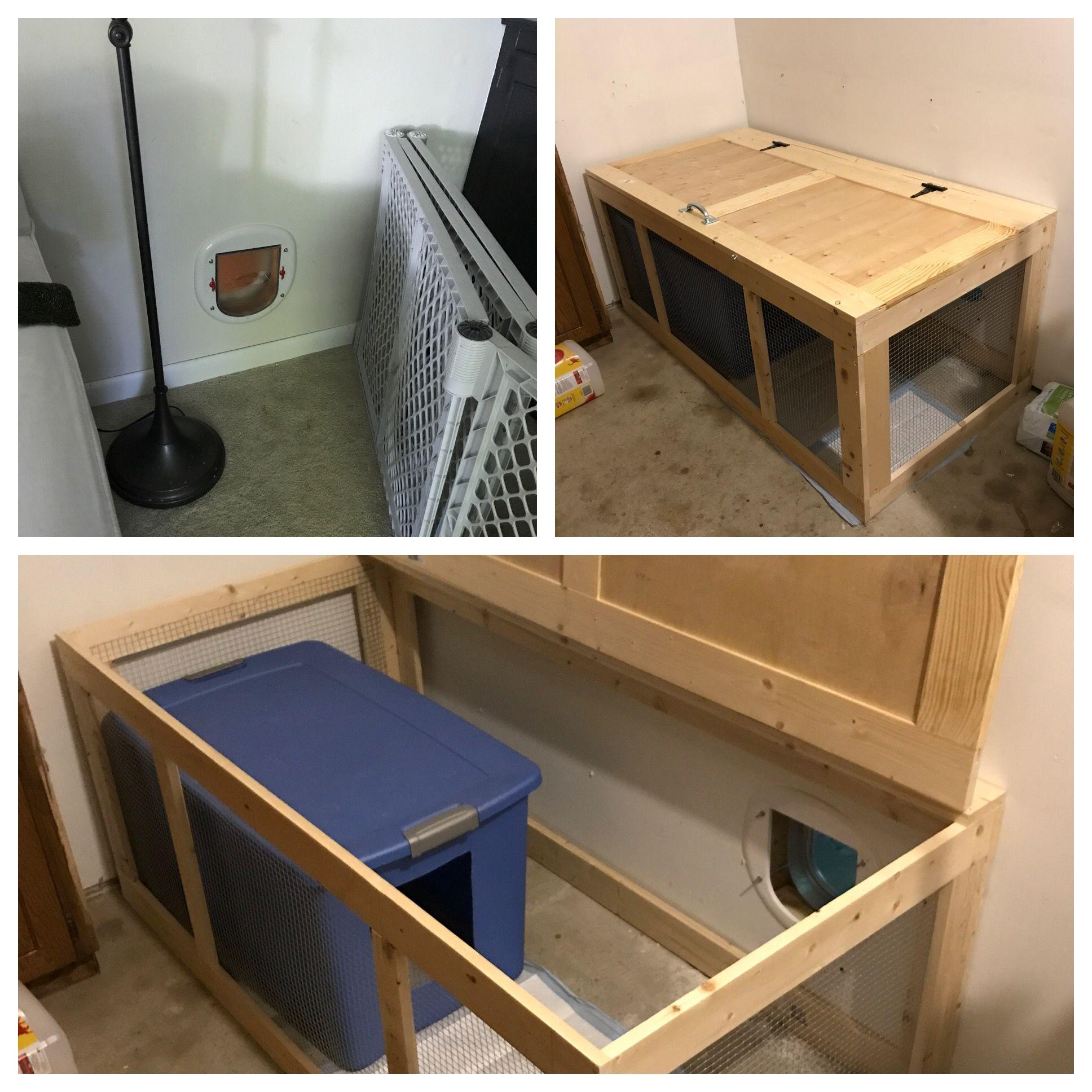 Litter Box Enclosure Door From Living Room To Garage Litter Box