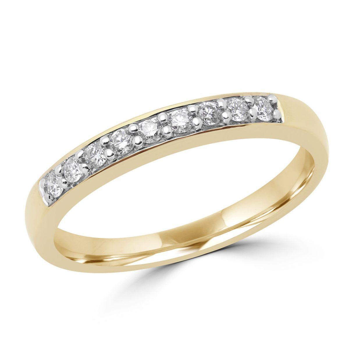 This timeless semi-eternity diamond wedding band, features nine round cut diamond accents, prong set in durable 10K yellow gold. Designed to stack well with almost any engagement ring, this piece makes a great complement to a bridal set, an ideal wedding band to wear by itself, or even as an addition to your collection of stackable rings. A smooth and refined design, bright white diamonds, and affordable pricing make this piece a smart purchase for any occasion.  Thin Band Pairs Well with Most E