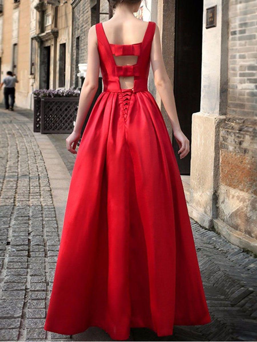 5584970fd934 Round Neck Bowknot Plain Evening Dress Red Evening Gowns, Wedding Evening  Gown, Evening Dresses