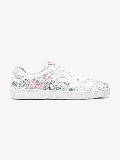 Printed leather sneakers Prada
