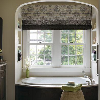 window over bathtub | bathroom window treatments, bathroom