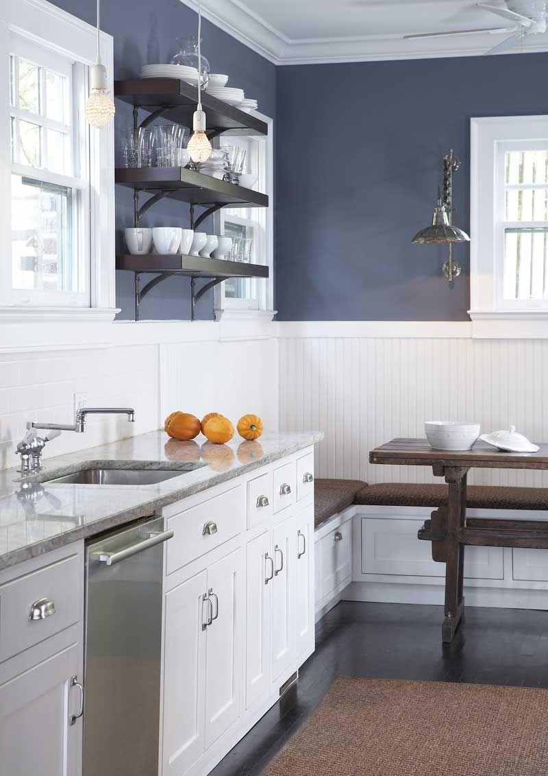 Navy Blue Wall Beadboard Kitchen Navy Kitchen Walls Blue