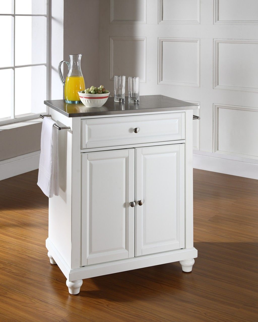 Crosley Cambridge Stainless Steel Portable Kitchen Island in White ...