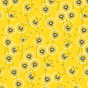 Fanciful flight - make a dandelion wish! - buttercup yellow - coggon_(roz_robinson) - Spoonflower