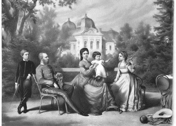 La Familia Imperial Austro-Húngara en los jardines del Palacio de Gödollo, en Hungría. 1870
