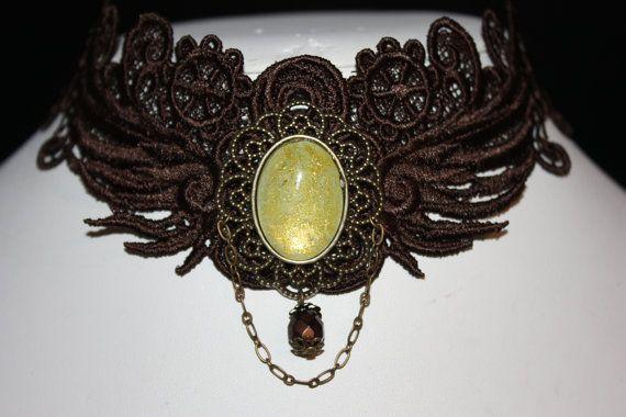 beautiful steampunk brown lace choker with yellow glass cabochon