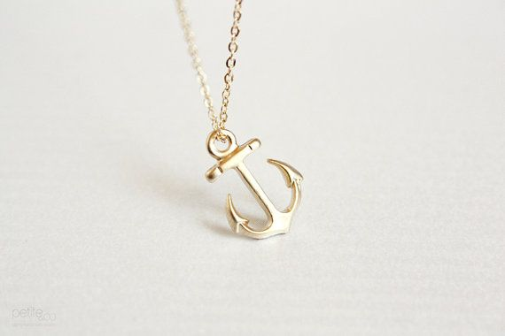 Dainty gold anchor necklace nautical summer jewelry gift for her