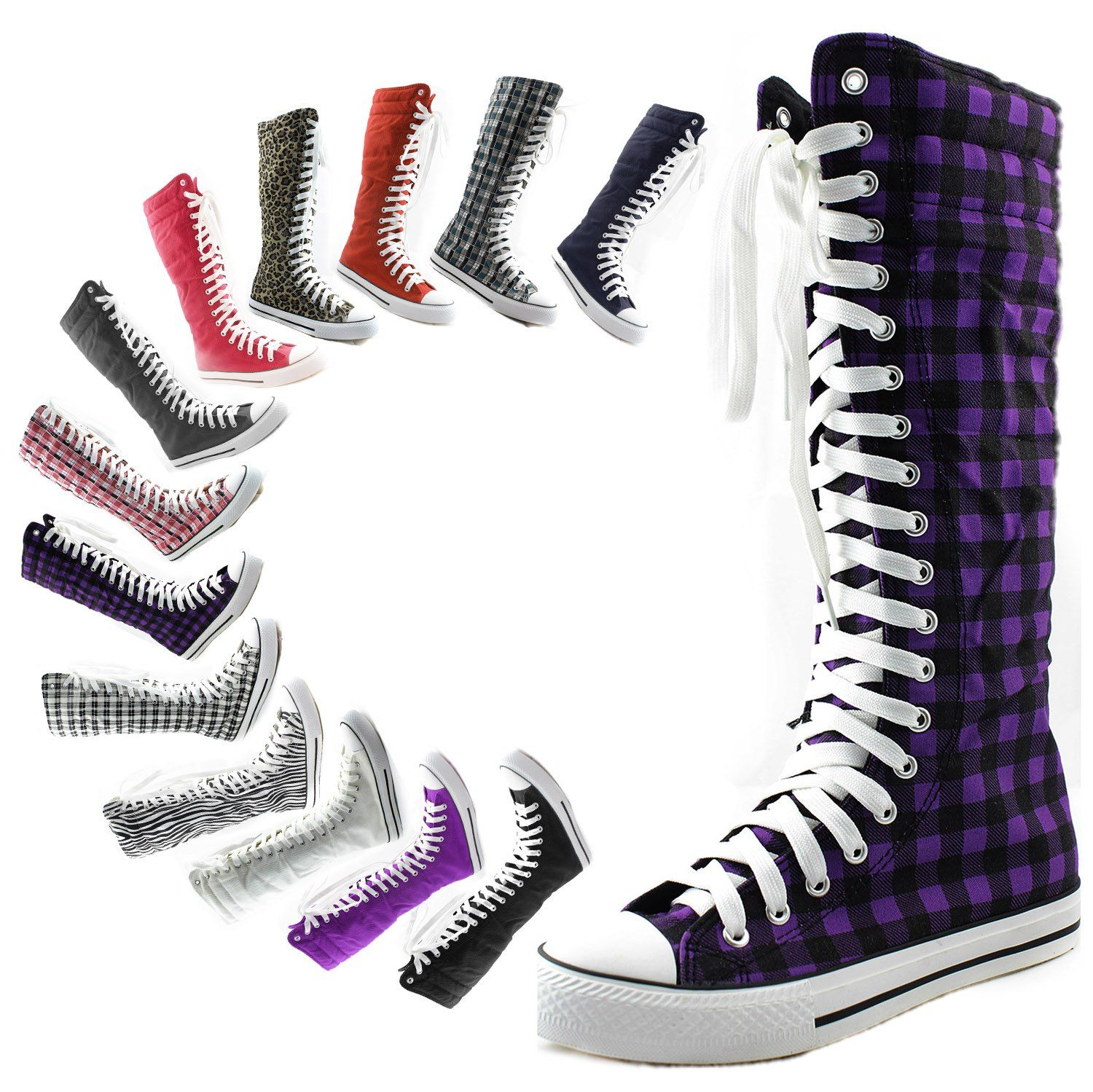 623a92cc9c0c Amazon.com  Women s Tall Canvas Lace up Punk Sneaker Flat Mid Calf Knee High  Boots  Clothing