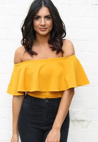 b290ece3715ed9 Sleeveless Off The Shoulder Frill Top Bodysuit in Mustard Yellow - One  Nation…