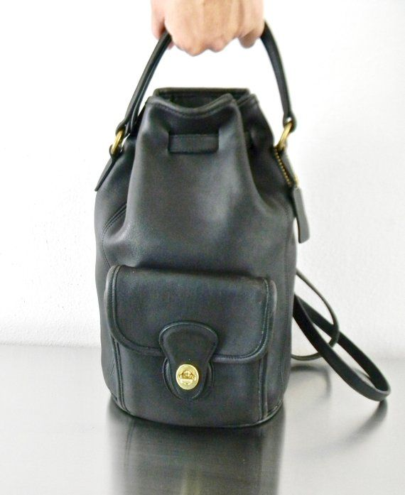 4dd7f9710e Vintage Coach Black Leather Classic Handle Backpack
