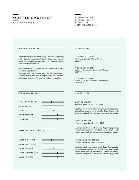 Minimal Cv Template Cover Letter Modern Von Botanicapaperieshop