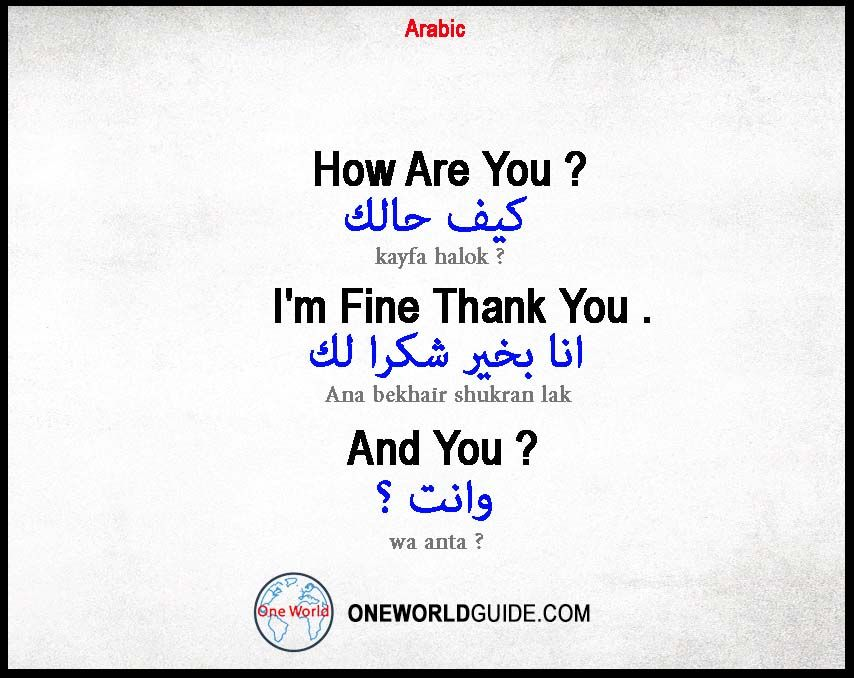 Arabic Phrases One World Guide How Are You In Arabic I M Fine In Arabic Greetings In Arabic Arabic Phrases Phrase Arabic
