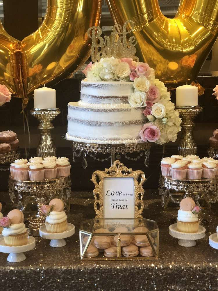 a118f8b4ac7b The cake at this Pink and Gold Bridal Shower is amazing!! Love the  showstopper cake! See more party ideas and share yours at CatchMyParty.com   catchmyparty ...