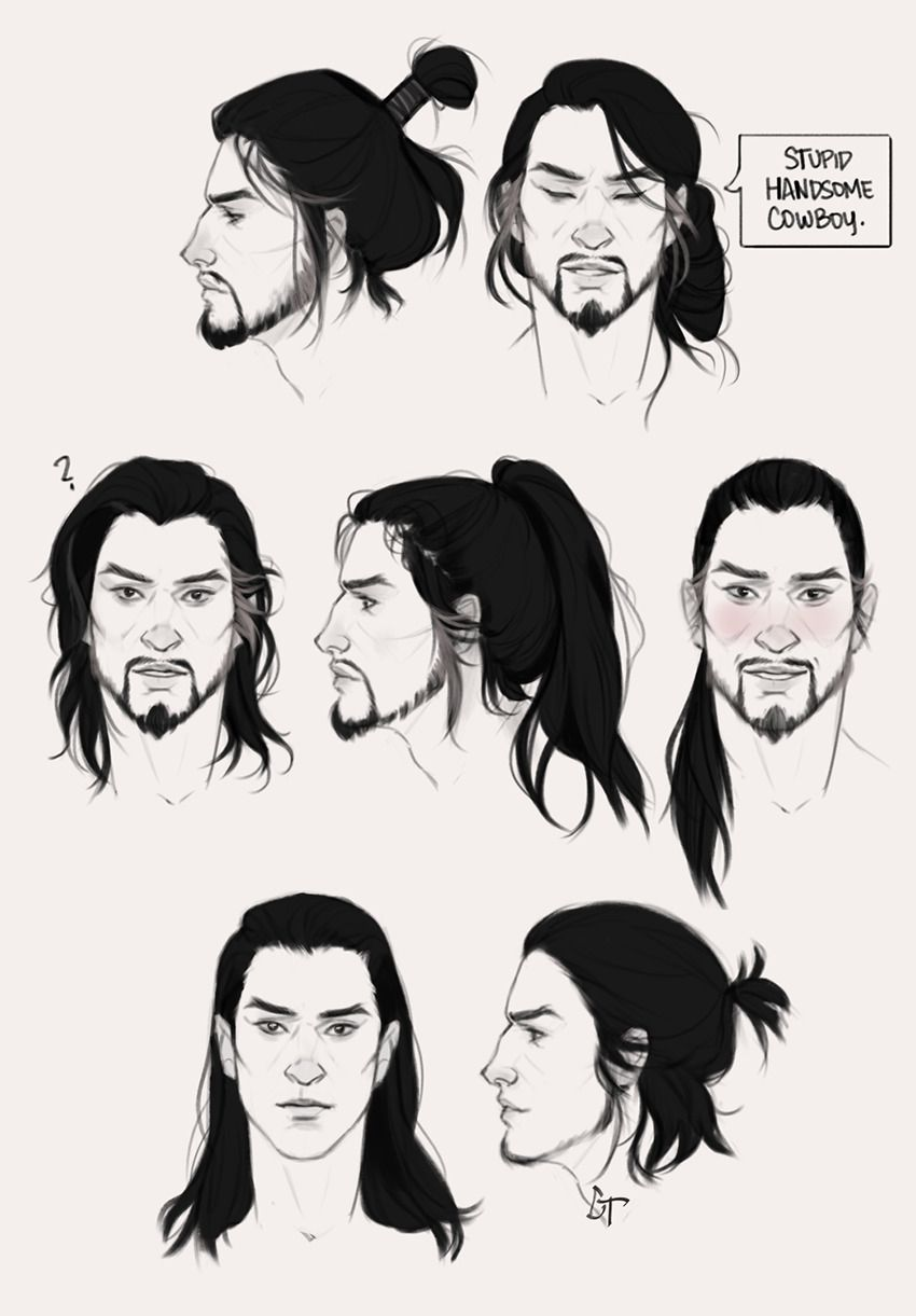 I Can T Stop Drawing Long Hair On Guys Hanzo Edition Long Hair Drawing Hair Sketch Guy Drawing
