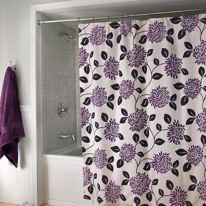 LOVE Pretty Shower Curtain With Purple Floral Motif