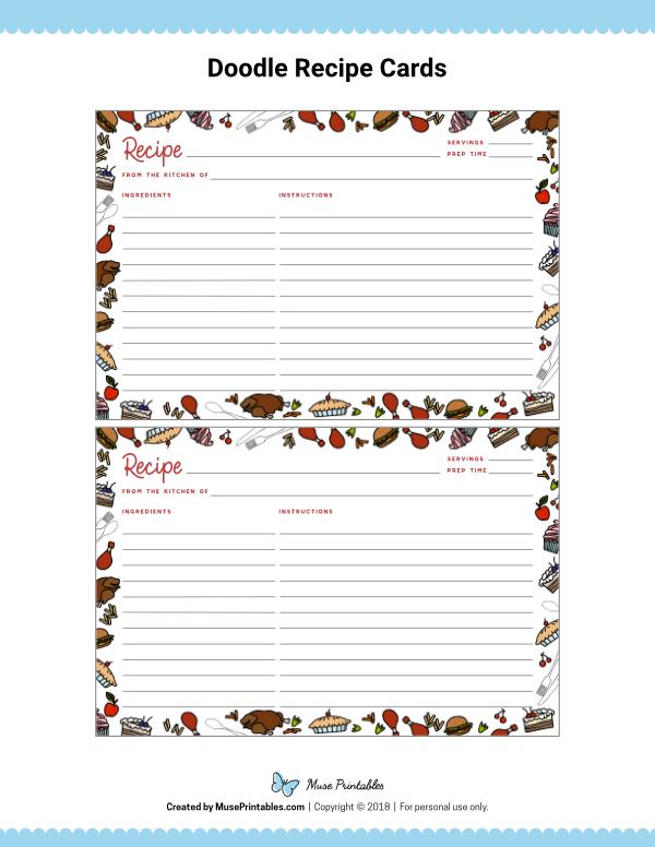 Free Printable Doodle Recipe Cards The Cards Are Editable In Adobe Reader Download Them At Https Recipe Cards Template Printable Recipe Cards Recipe Cards
