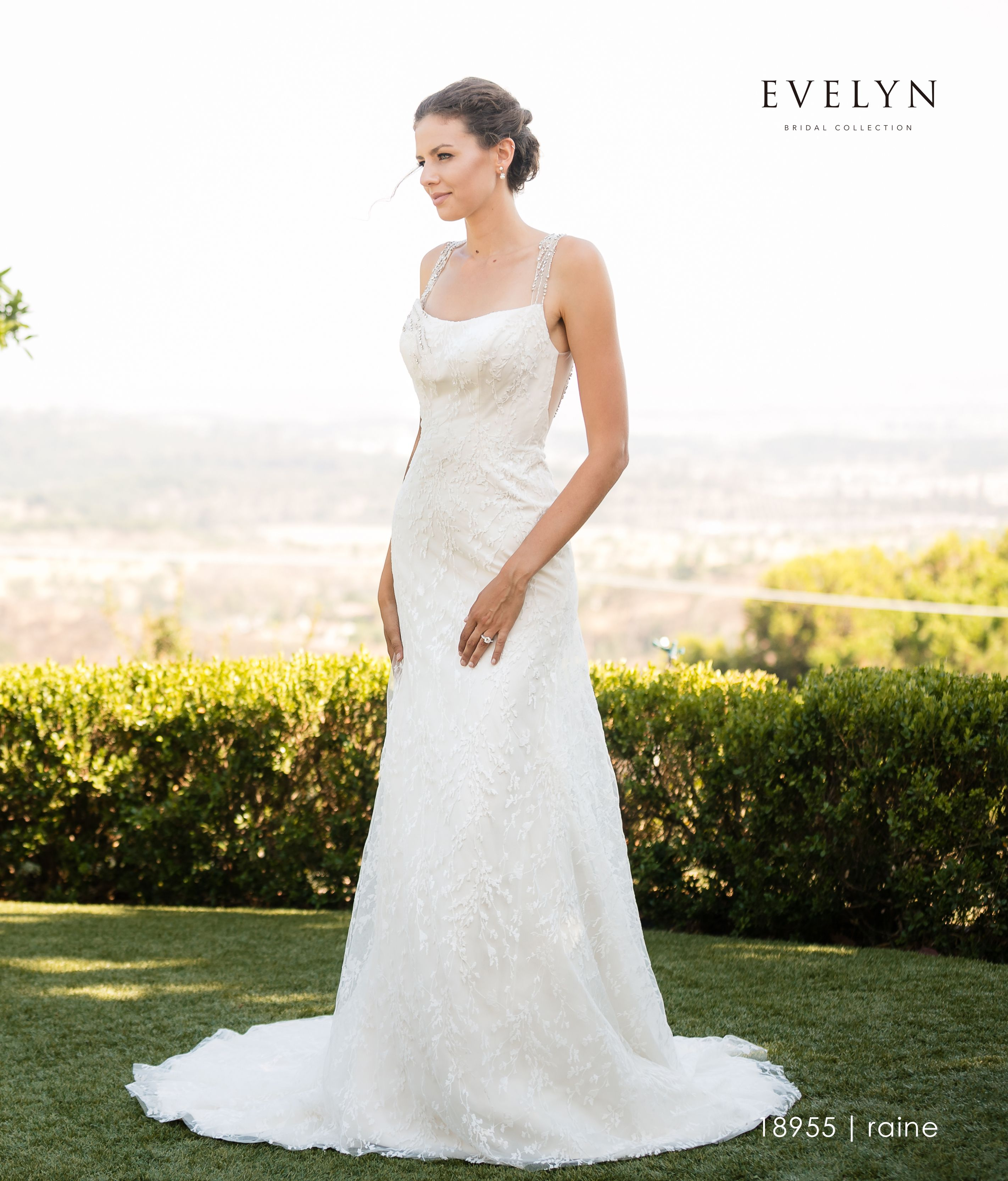 d644f1a6 Evelyn Bridal | Raine 18955 Elegant allover lace sheath gown with crystal  beaded back. This stunning dress features a slight curve neckline, crystal  beaded ...