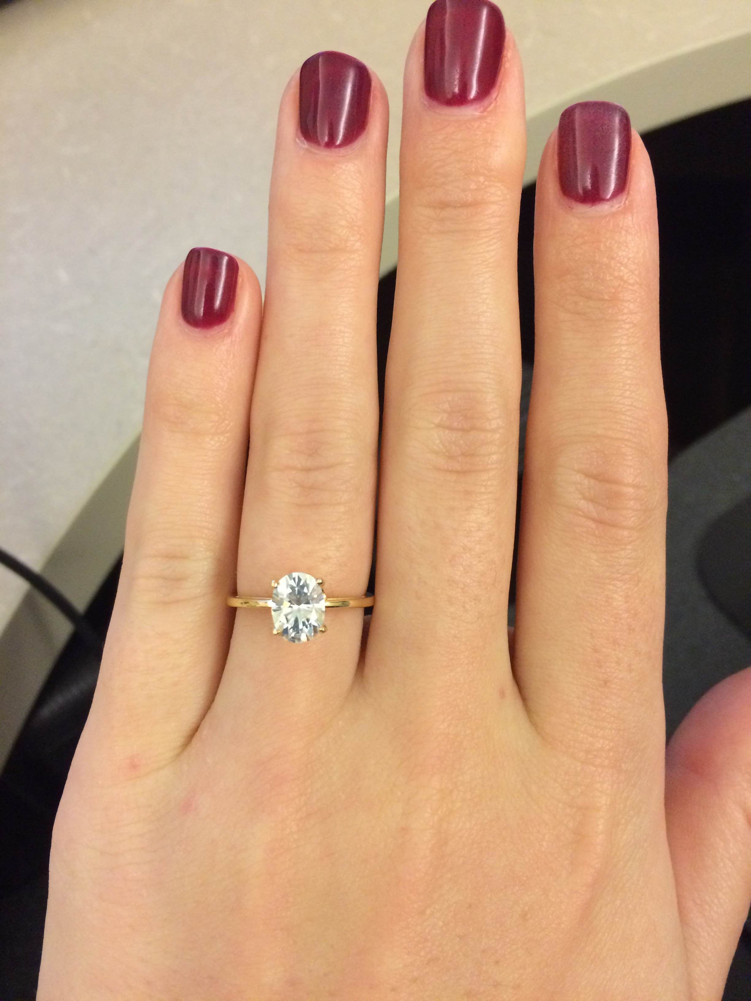 Oval Solitaire - Moissanite stone. Way more affordable ...
