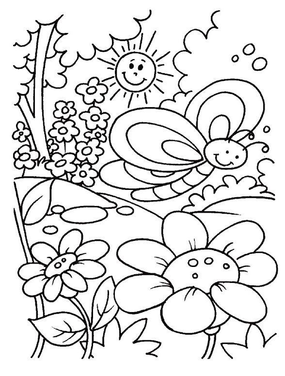 Spring Day Coloring For Kids Kindergarten Coloring Pages Spring Coloring Sheets Summer Coloring Pages
