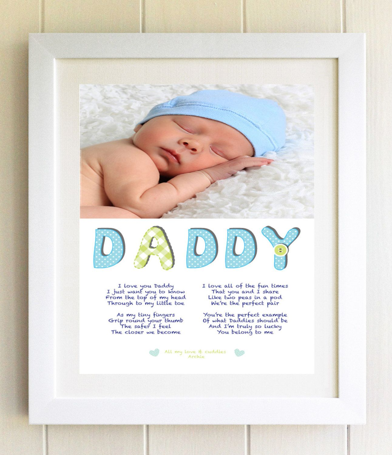 New Daddy Dad Christmas Gift Personalised Plaque Daddy Poem Framed