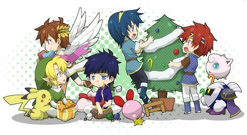 Super Smash Bros christmas Link, Pit, Kirby, Pikachu, Ike, Marth and Roy