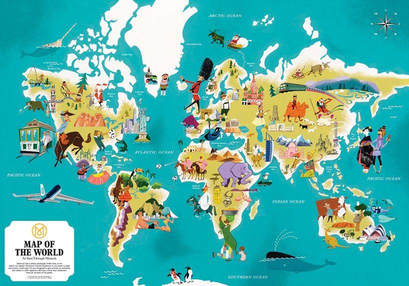 interview with illustrator satoshi hashimoto Worldmap - new unique world map poster