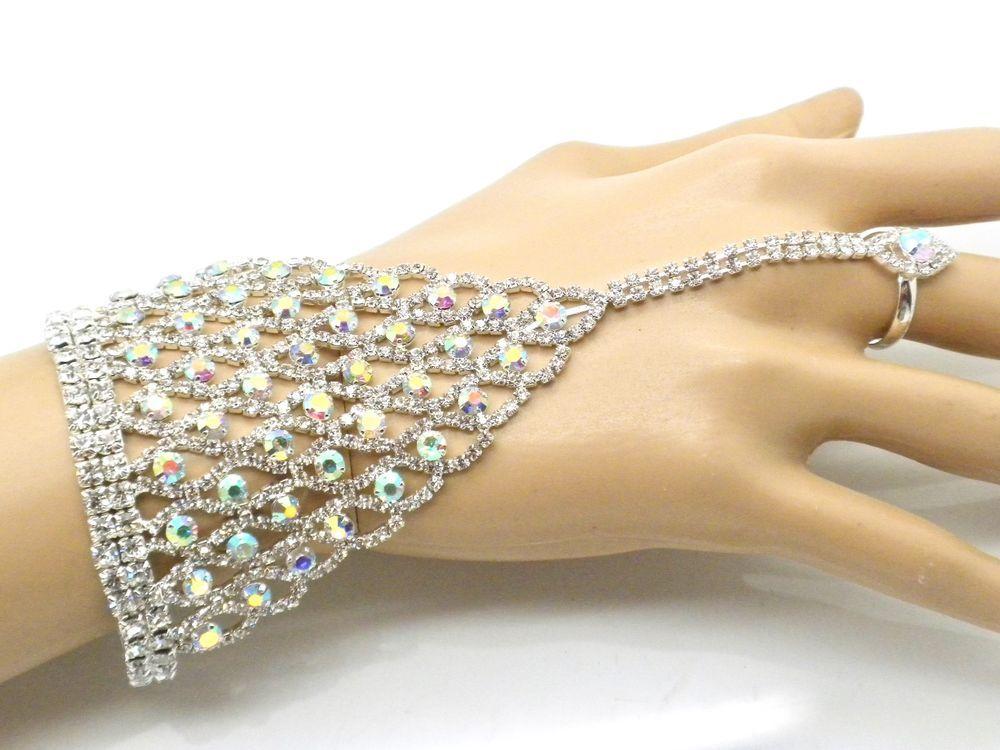 cf3665ebe895a Details about Silver W.Purple Crystal Rhinestone Bracelet Slave ...
