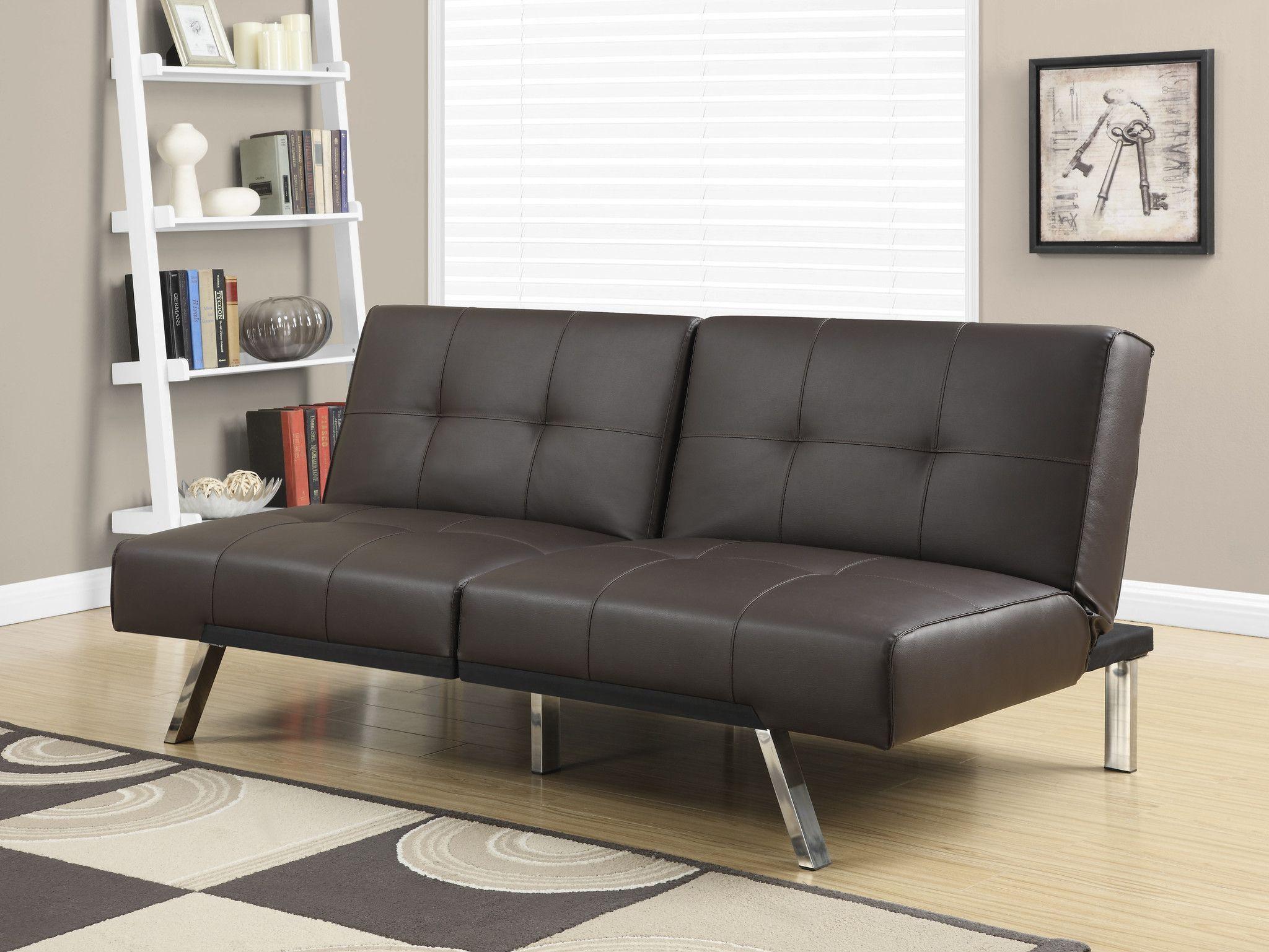 Futon Split Back Click Clack / Dark Brown LeatherLook