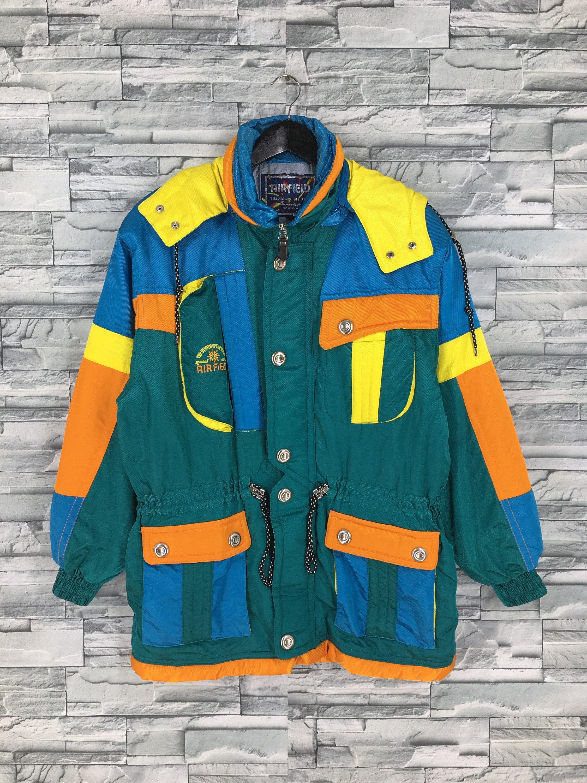 Vintage 90/'s ELLESSE Neon Ski Wear Medium Multicolour Jacket Sportswear Ellesse Colorblock Skiwear Hoodie Snow Jacket Size L