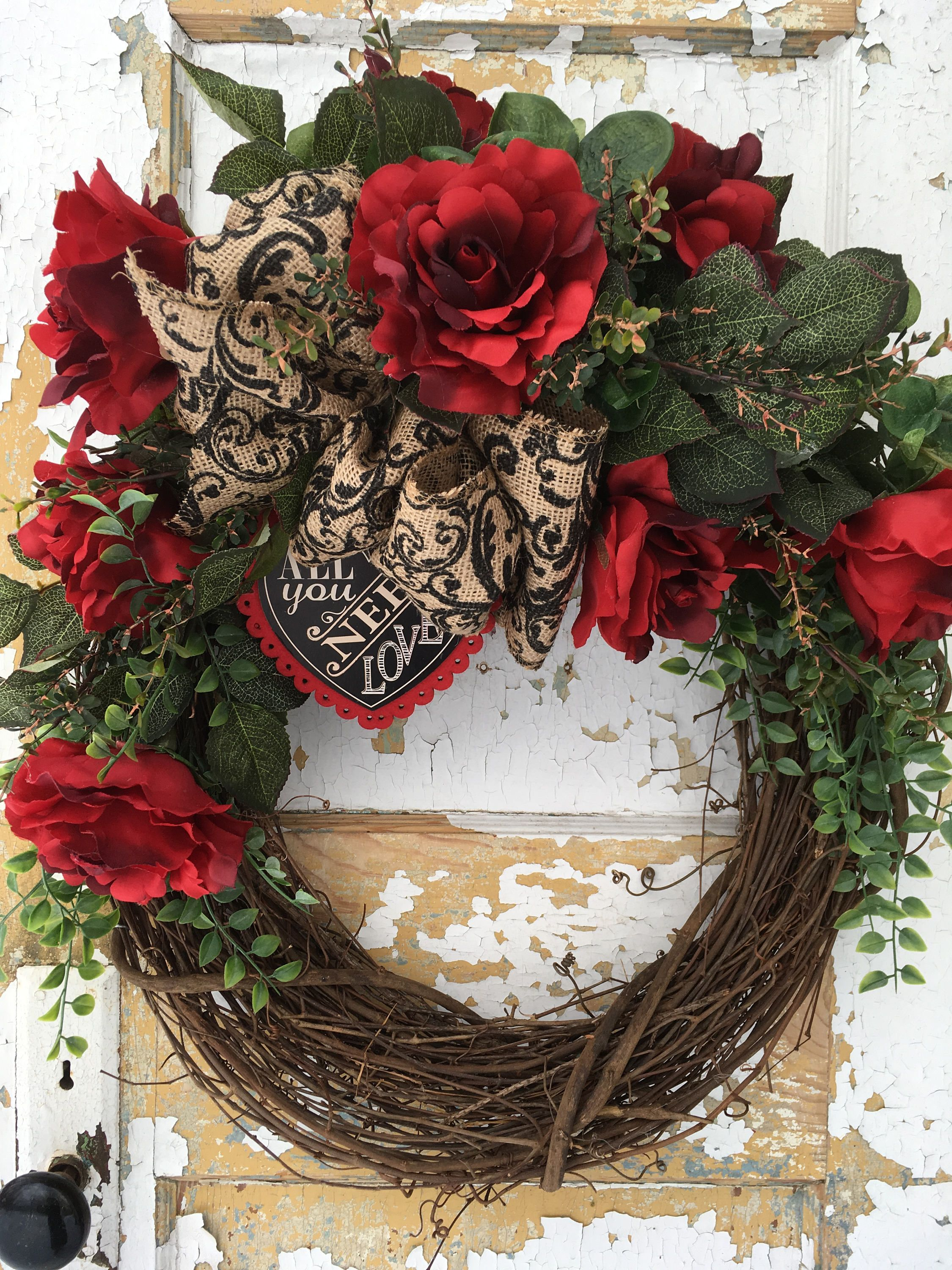 Valentine Wreath Red Rose Wreath Valentine S Day Wreath Valentine Front Door Wreath By Flowerpowerohi Valentine Day Wreaths Red Rose Wreath Valentine Wreath