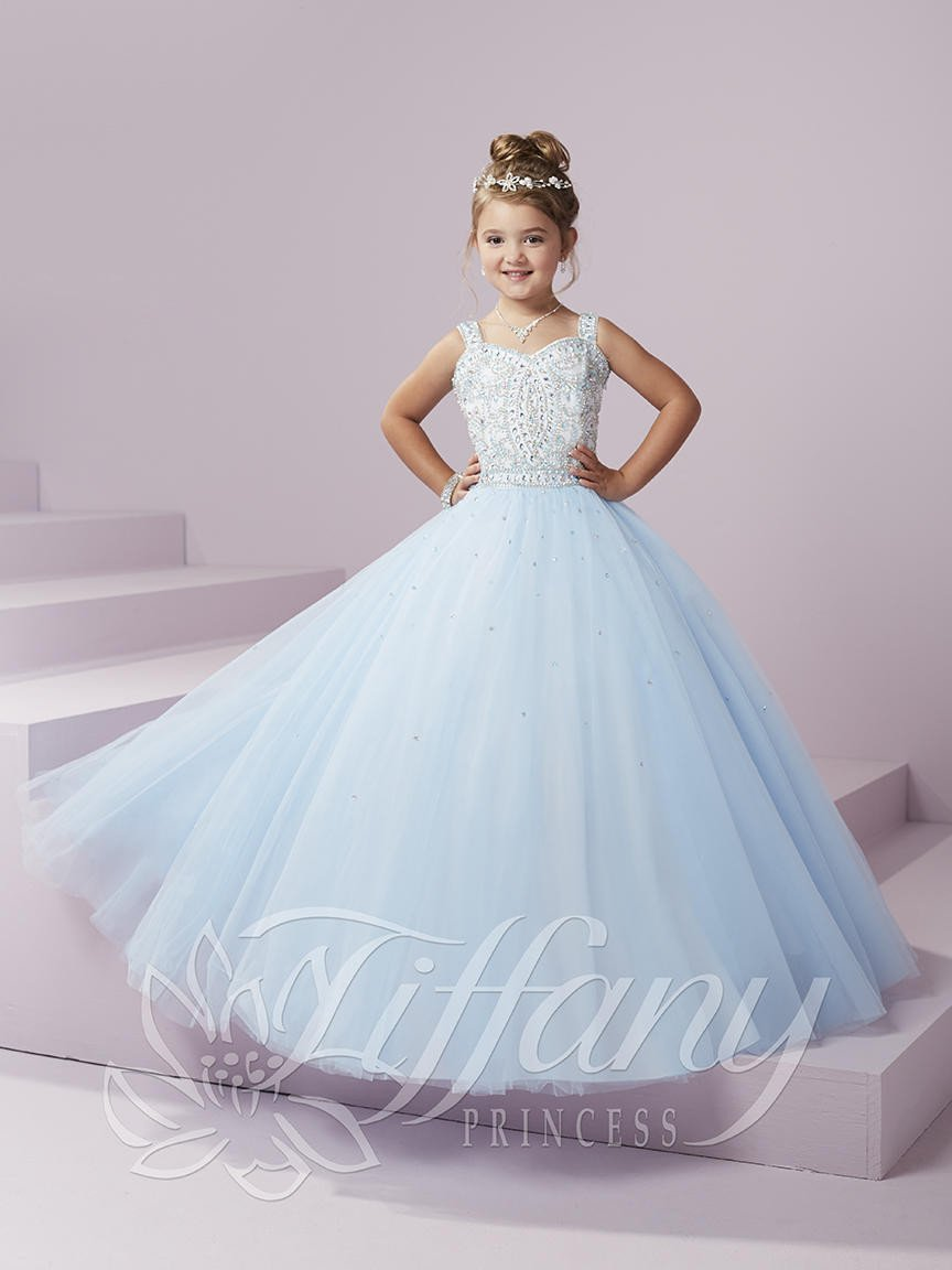 fb8fc7932bd Tiffany Princess 13494 Blue Sky Sweetheart Neckline with Straps Beaded  Pageant Dress